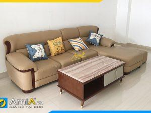 mẫu ghế sofa góc chữ L bọc da sang trọng kê phòng khách AmiA338